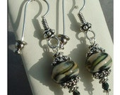 Ivory Caramel and Teal Lampwork Earrings