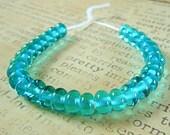 Lampwork Spacer Beads in Aqua