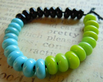 Lampwork Glass Spacer Beads in Lime, Turquoise and Black