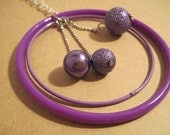 Purple Baubles and Circles Necklace