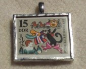 Postage Stamp Pendant - Puss in Boots