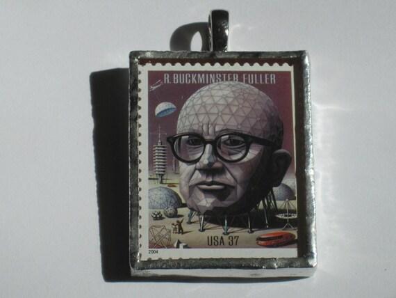 Postage Stamp Pendant - R. Buckminster Fuller