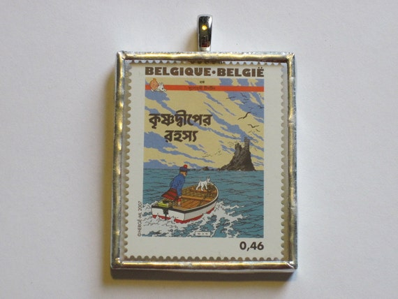Postage Stamp Pendant - Tintin - The Black Island