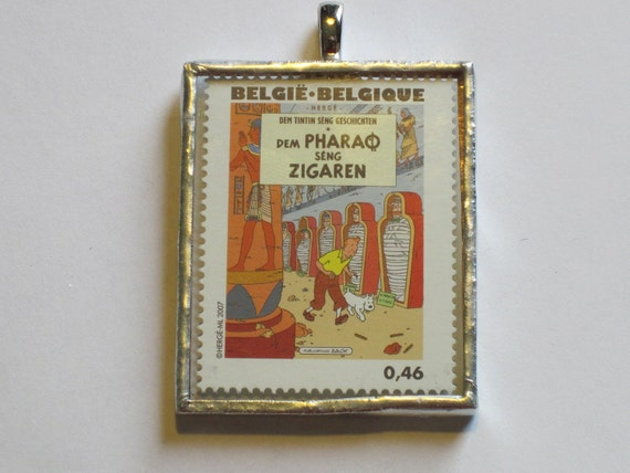 Postage Stamp Pendant - Tintin - Cigars of the Pharoah