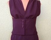 Eugenia vest in berry colored wool crepe