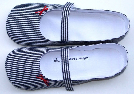 Mary Jane slippers in nautical blue and white stripes size US 9.5, UK 7.5, Euro 40