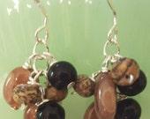 Agate, Jasper, Onyx Cluster Silver Earrings