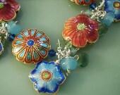Floral Flower Cloisonne, Quartz Teardrop, Swarovski Crystal Beaded Fringe Charm Bracelet