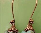 Turquoise Rondelle, Copper Bali Cluster Earrings