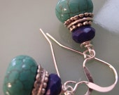 Turquoise, Lapis Stacked Earrings