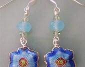 Blue Floral Cloisonne, Quartz, Swarovski Crystal Earrings