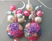 Lampwork Style Chintz Rose Polymer Clay, Pearl, Swarovski Crystal Sterling Silver Earrings