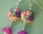 Handmade Lampwork Style Floral Polymer Clay, Purple Jade Briolette Silver Earrings