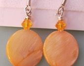 Orange Mother Of Pearl Swarovski Crystal Sterling Silver Earrings