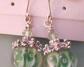 Green Lampwork Chrysolite Swarovski Crystal Sterling Silver Earrings
