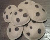 6 Felt Chocolate Chip Cookies - Food/Pretend Play