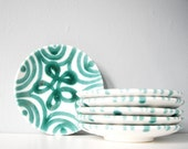 Set of six vintage plates teal dessert plate - ceramic with abstract flower pattern