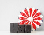 USA letterpress type wood blocks set - patriotic American collectible Olympics celebration