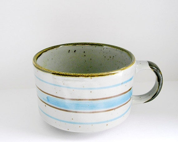 Vintage large ceramic grey cup with brown and sky blue stripes - clay bowl for soup or oversize mug for coffee