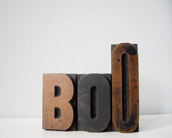 Halloween Boo wood blocks vintage lettepress letter block set