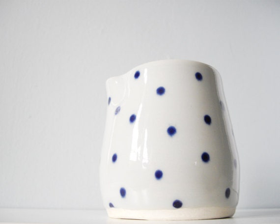 Pretty modern polka dot pitcher creamer grey blue dots