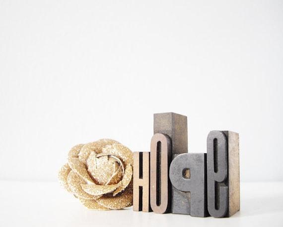 sale // HOPE vintage letterpress type wood blocks