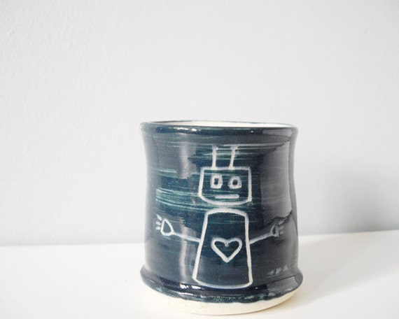 Small blue cup robot with love heart - porcelain tumbler handmade ceramic pottery gift for dad