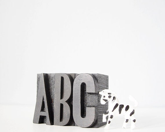 ABC vintage letterpress type wood blocks - home decor nursery baby typography alphabet gift