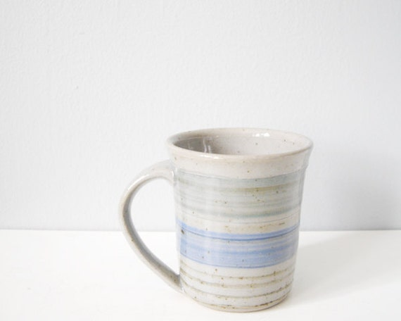Handmade modern mug grey green blue stripes - gray ceramic cup stoneware pottery lovely dad gift