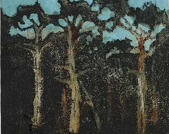 Monterey Cypress 2 - monoprint - Cypress forest with blue sky 3.75 x 4 inches OOAK