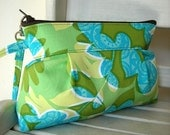 SALE - Tropical (Green) - Zipper Pouch with Clip