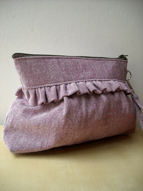 25% OFF SALE - Purple - Zipper Pouch with Clip