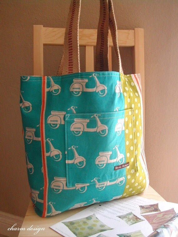 Blue Scooter Stripes - Market Tote