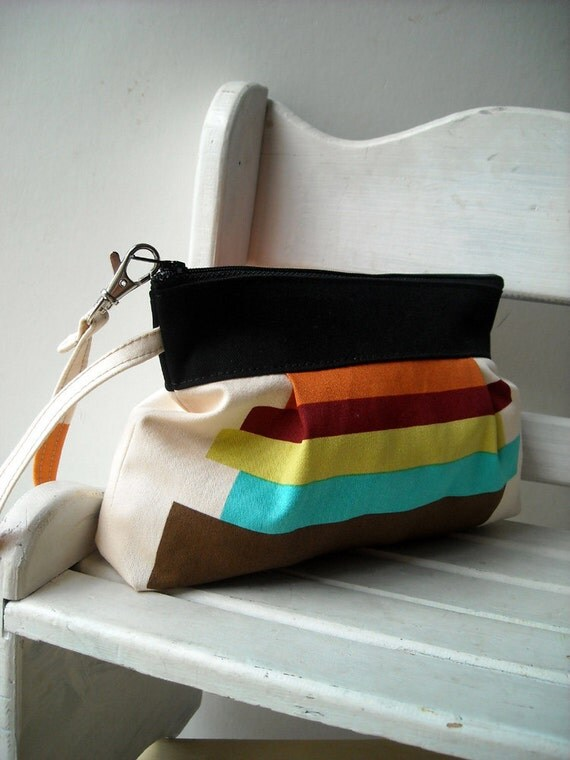 Rainbow & Black - Zipper Pouch with Clip