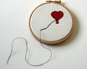 Heart Shaped Balloon Stitched Illustration Wall Plaque
