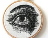 Embroidered Eye Original Stitched Illustration Wooden Hoop Wall Plaque To order