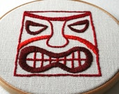 Red Tiki Head Hand Embroidered Wall Decor Hoop Art