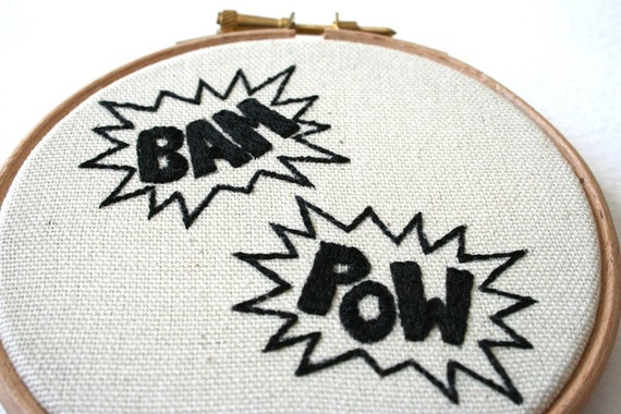 BAM POW Holy Stitchery Batman Hand Embroidered by SamPGibson