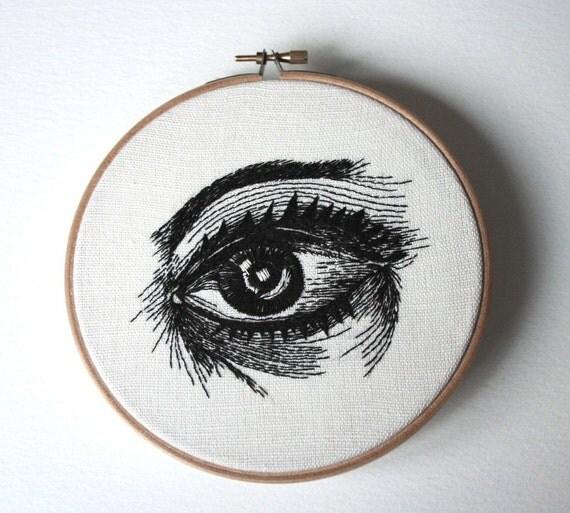 Eye Original Stiched Illustration Wooden Hoop Wall Plaque