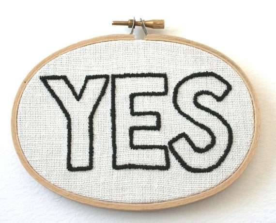 YES Hand Embroidered Wooden Frame Wall Plaque