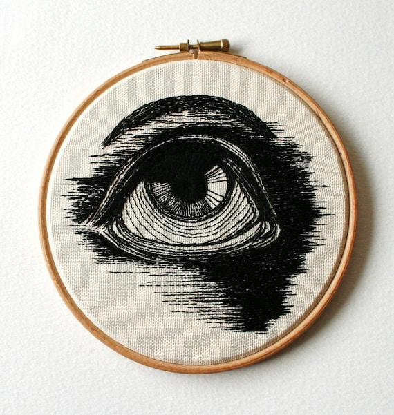 RESERVED Human Eye Stitched Illustrated Hand Embroidered Wall Art