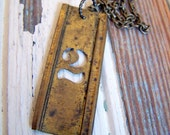 Vintage brass stencil number necklace - 2 - other numbers available