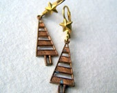 Pine Tree Earrings - Tree and Star Earrings - Tree Earrings - Woodland Fashion