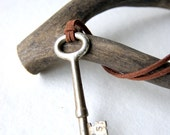 Antique skeleton key necklace with brown suede cord Under 25