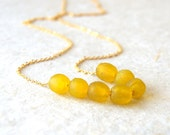 Yellow recycled glass necklace - sunny yellow glass beads - vintage chain - eco friendly fashion
