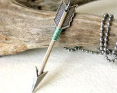 Silver Arrow Necklace - mint green wire wrapped arrow pendant,  Unisex Fashion - Handmade by BlackStar - BlackStar