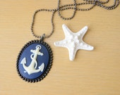 Anchor Necklace midnight blue with ivory anchor cameo and gunmetal ball chain summer fashion nautical fashion