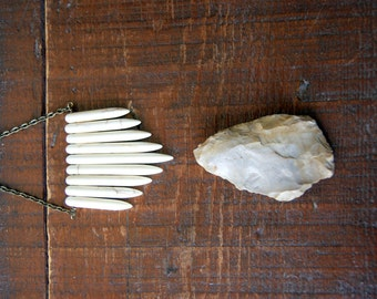 Magnesite Necklace - Stone Necklace - white daggers - spike jewelry - antiqued brass chain - Rustic Jewelry - bohemian jewelry - boho chic