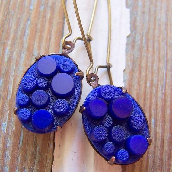 Vintage sapphire blue glass cab earrings
