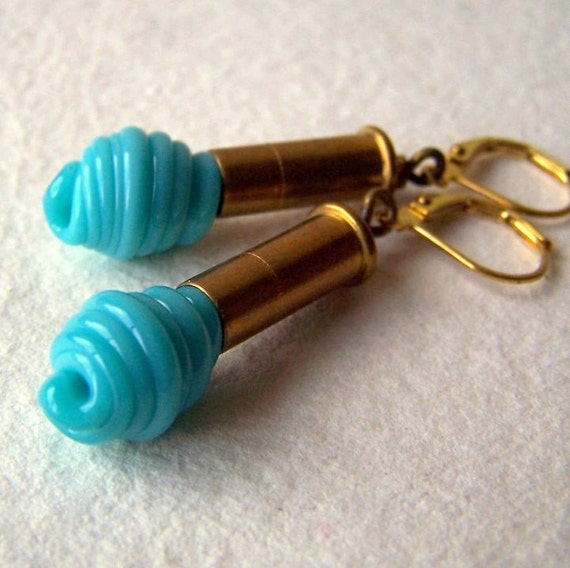 Brass bullet Earrings, vintage turquoise blue glass lampwork beads, industrial, eco friendly fashion - Handmade by BlackStar
